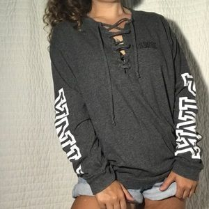 """""""Pink"""" Gray Lace Up Long a Sleeve T-shirt"""